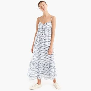J crew paisley white blue maxi summer dress